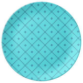 Graphic Tile Design blue Porcelain Plate