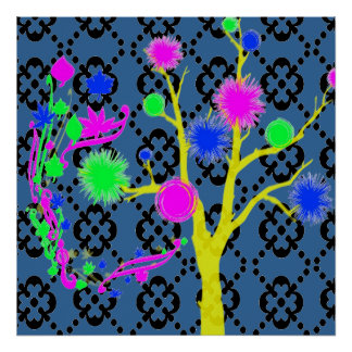 Graphic Tree in Neon Colors Poster