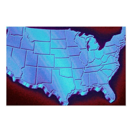 Graphic U.S. map over black background Poster