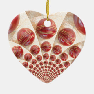 Graphic Vintage Cricket Game of Champions.jpg Double-Sided Heart Ceramic Christmas Ornament