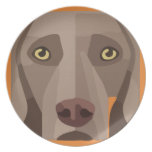 GRAPHIC WEIMARANER HEAD ORANGE PLATE