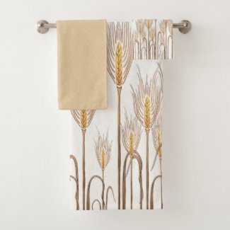 Graphic Wheat Stalks Mottled Golden Yellow White Bath Towel Set