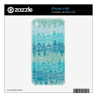 Graphical blue buildings in European style Decal For The iPhone 4S