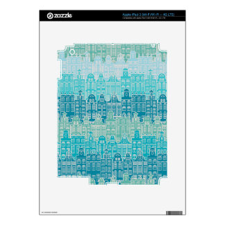 Graphical blue buildings in European style Decals For iPad 3