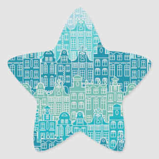Graphical blue buildings in European style Star Sticker