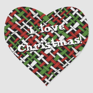 Graphical Colorful Woven Christmas Burlap any Text Heart Sticker