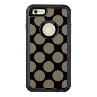 Graphical Diagonal Polka Dots any Color on Black OtterBox Defender iPhone Case
