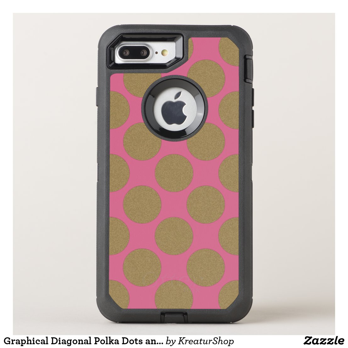 Graphical Diagonal Polka Dots any Color on Pink