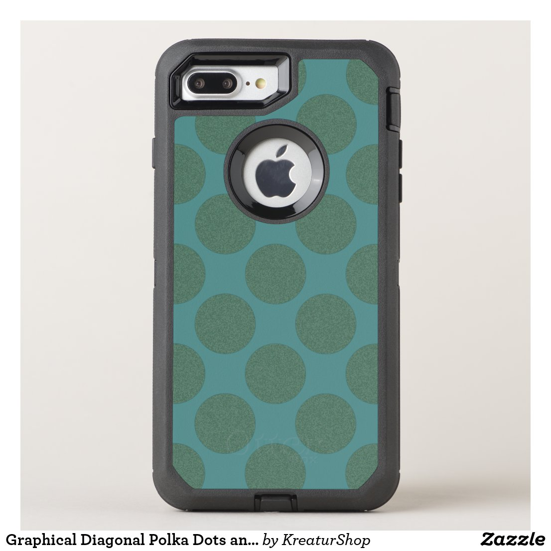 Graphical Diagonal Polka Dots any Color on Teal
