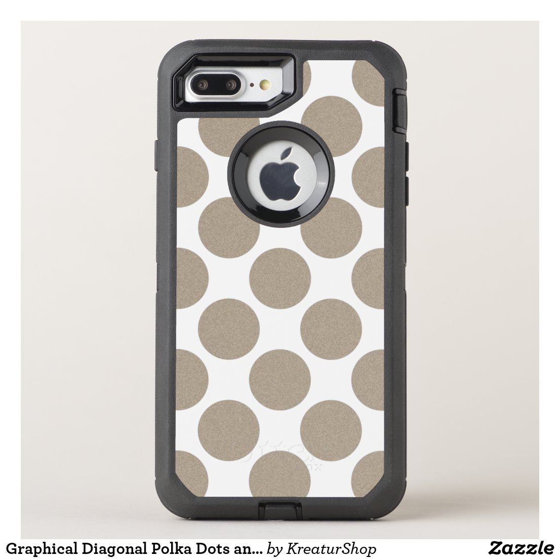 Graphical Diagonal Polka Dots any Color on White