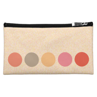Graphical Dots in Line Feminine Peach Makeup Bag