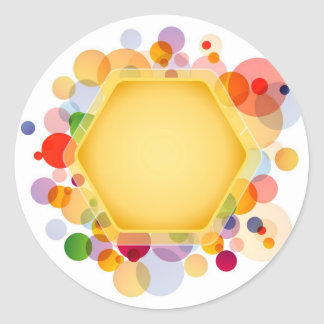 Graphical Honeycomb with colorful dots Classic Round Sticker