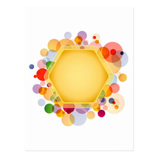 Graphical Honeycomb with colorful dots Postcard