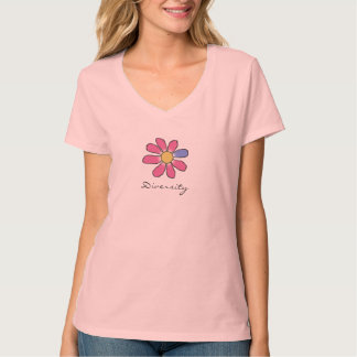 Graphical Pink Flower Diversity T-Shirt