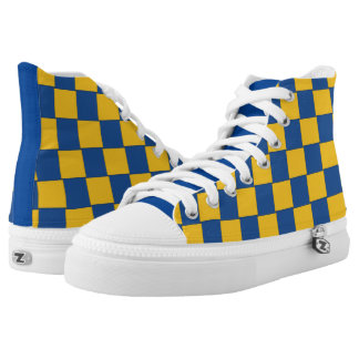 Graphical Tiles Woven Blue Yellow High-Top Sneakers