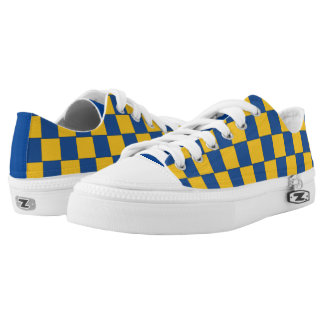 Graphical Tiles Woven Blue Yellow Low-Top Sneakers