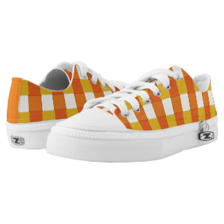 Graphical Tiles Woven Orange Yellow Low-Top Sneakers