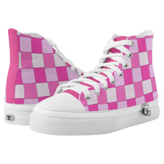 Graphical Tiles Woven Pink White High-Top Sneakers