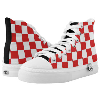 Graphical Tiles Woven Red White High-Top Sneakers