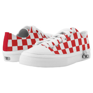 Graphical Tiles Woven Red White Low-Top Sneakers