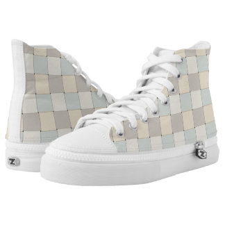 Graphical Tiles Woven Soft Colors High-Top Sneakers