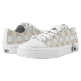 Graphical Tiles Woven Soft Peach Colors Low-Top Sneakers