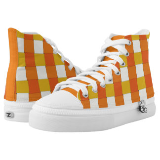 Graphical Tiles Woven Yellow Orange High-Top Sneakers
