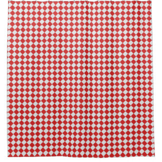 Graphical Woven Checkered Diagonal 60s Red White Shower Curtain