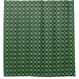 Graphical Woven Checkered Forest Green Shower Curtain