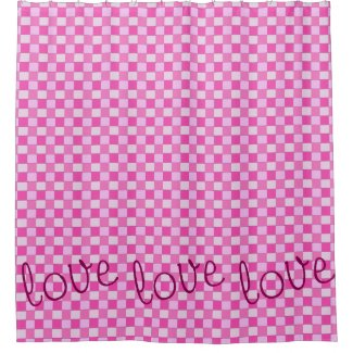 Graphical Woven Checkered Pink with Love