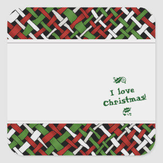 Graphical Woven Christmas Burlap Labels with Text