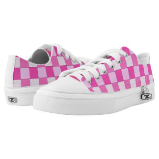 Graphical Woven Tiles Pink White Low-Top Sneakers