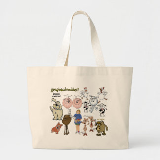 Graphicdoodle's menagerie bag. large tote bag