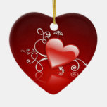 Graphics of St. Valentine's day - Double-Sided Heart Ceramic Christmas Ornament