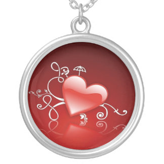 Graphics of St. Valentine's day - Silver Plated Necklace