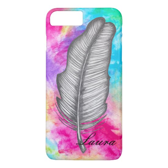 Graphite Feather Sketch Abstract Colorful Boho Fun iPhone 8 Plus/7 Plus Case