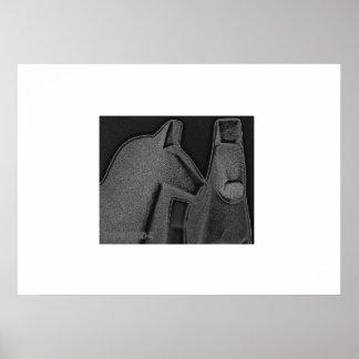 Graphite gray Dalecarlian horses Poster
