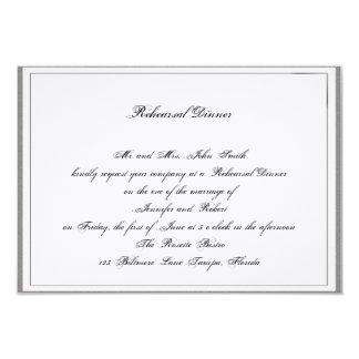 Graphite Grey Filigree Posh Wedding Rehearsal 3.5x5 Paper Invitation Card