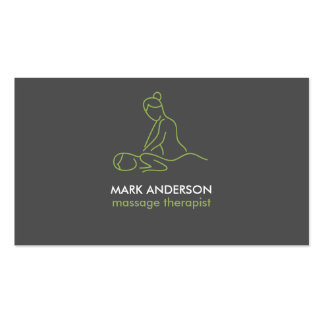 Graphite Grey Massage Therapy Masseuse Spa Double-Sided Standard Business Cards (Pack Of 100)