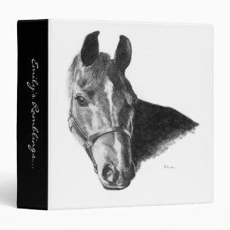 Graphite Horse Head 3 Ring Binder