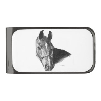 Graphite Horse Head Gunmetal Finish Money Clip