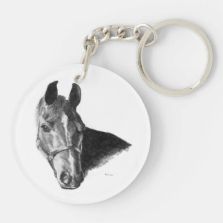 Graphite Horse Head Acrylic Key Chain