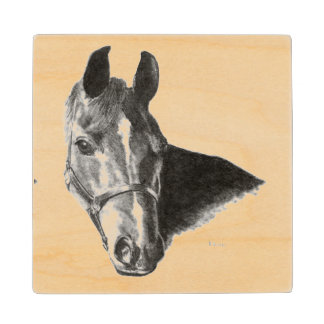 Graphite Horse Head Wooden Coaster