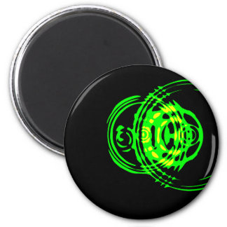 Grapic Green Ripple 2 Inch Round Magnet