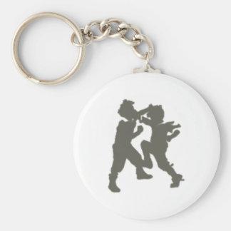 grappling children brawling children basic round button keychain
