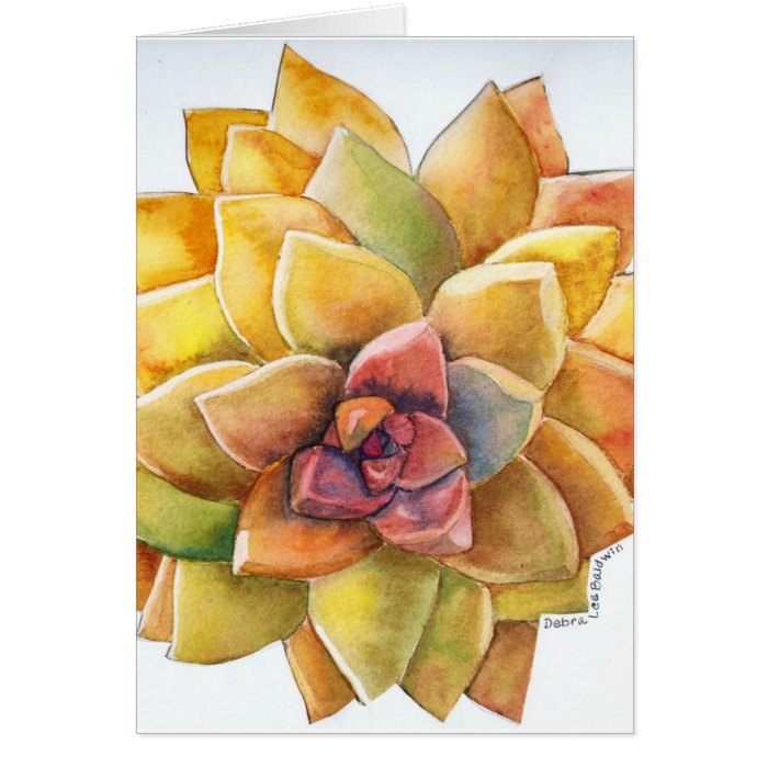 Graptopetalum watercolor card