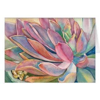 Graptoveria watercolor by Debra Lee Baldwin Card