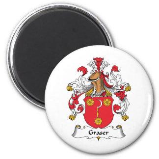 Graser Family Crest 2 Inch Round Magnet