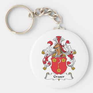 Graser Family Crest Basic Round Button Keychain