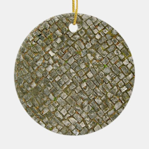 Grass and Fallen Leaves in Paving Blocks Christmas Ornament